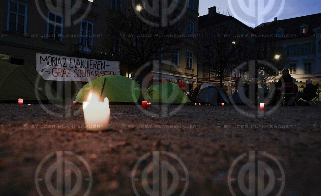 "Protestcamp ""Moria evakuieren"" in Graz am 30.01.2021"