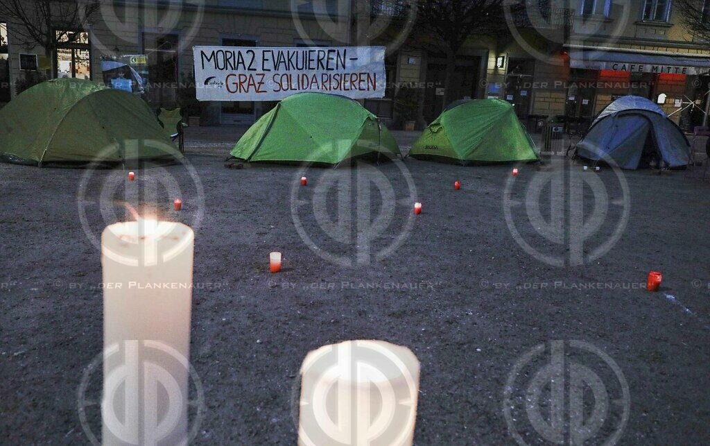 "Protestcamp ""Moria evakuieren"" in Graz am 30.01.2021"
